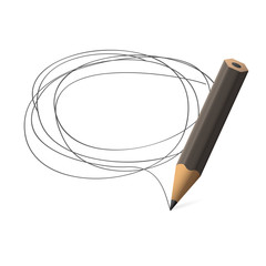 Pencil draws jauntily circle on a white background