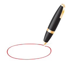 Ball pen draws jauntily circle on a white background
