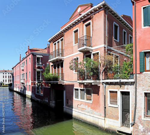 Venice - a museum in which people live. Houses on a canal