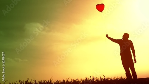 Lone Boy Heart Balloon Silhouette Sunset Lost Love Concept