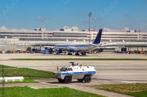 Police vehicle patrols airport in Munich.