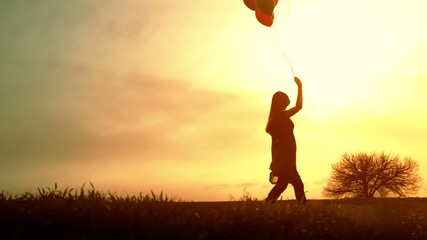Joyful Young Woman Walking Meadow Balloons Sunset Happy