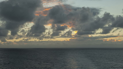 Timelapse caribbean Sea at sunset