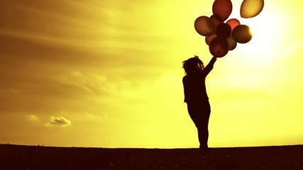 Vintage Woman Running Balloons Meadow Sunset Slow Motion