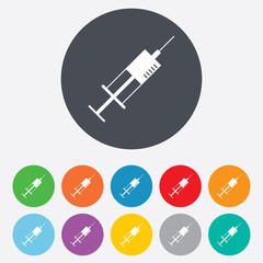 Syringe sign icon. Medicine symbol.