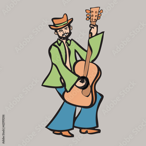 Beard man playing guitar