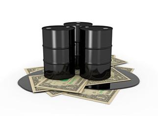 Oil barrels on dollar notes