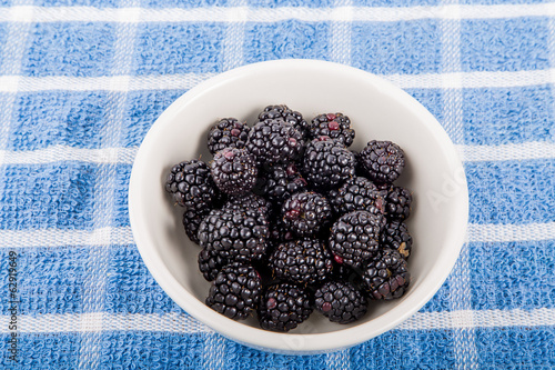 White Bowl of Fresh Blackberries