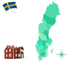Map of Sweden, provinces and regions