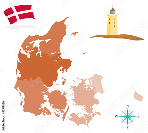 Map of Denmark, provinces and regions