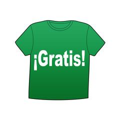 Camiseta verde texto ¡Gratis!