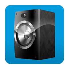 Etiqueta tipo app cuadrada azul altavoz