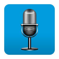 Etiqueta tipo app cuadrada azul microfono