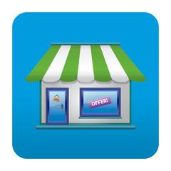Etiqueta tipo app cuadrada azul tienda