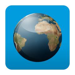 Etiqueta tipo app cuadrada azul planeta tierra
