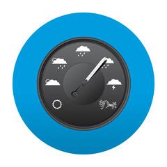 Etiqueta tipo app redonda azul barometro
