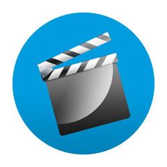 Etiqueta tipo app redonda azul claqueta