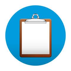 Etiqueta tipo app redonda azul clipboard