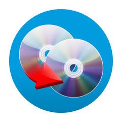 Etiqueta tipo app redonda azul copiar dvd