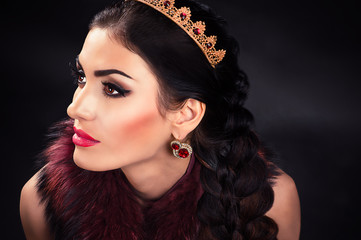 portrait of a beautiful luxurious princess in the diadem