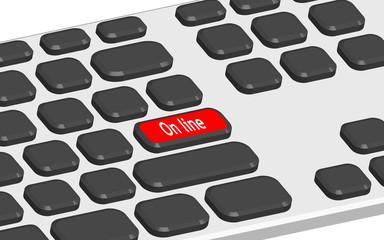 Teclado 3d con tecla roja y texto online