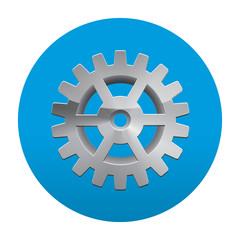 Etiqueta tipo app redonda azul engranaje