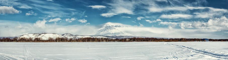 Panorama of Koryaksky volcano. Kamchatka, Russia