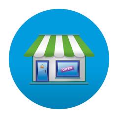Etiqueta tipo app redonda azul tienda