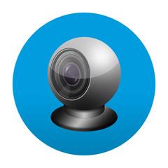 Etiqueta tipo app redonda azul webcam