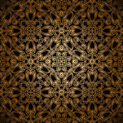 Vintage seamless pattern, gold lace background
