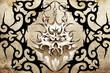 tribal mask. Tattoo design over grey background. textured backdr
