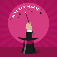Show concept - magician hand with magic wand