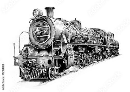 old steam locomotive engine retro vintage - 62920813