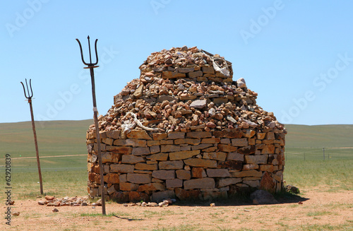 stone mound in steppe of Inner Mongolia, China