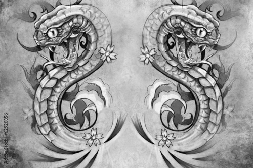 snakes. Tattoo design over grey background. textured backdrop. A