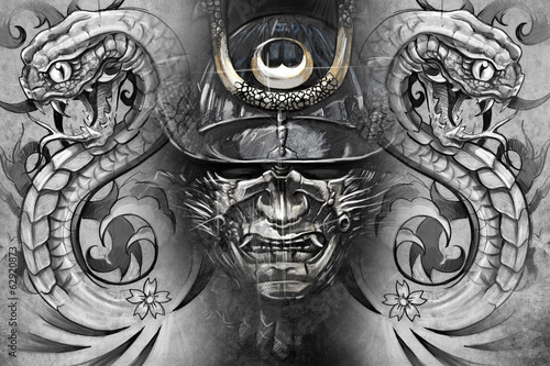 Japanese mask and snakes. Tattoo design over grey background. te
