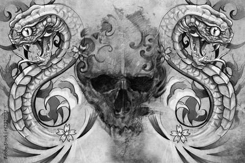 Skull and snakes. Tattoo design over grey background. textured b