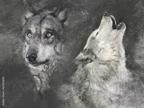 Wolfs, handmade illustration on grey background