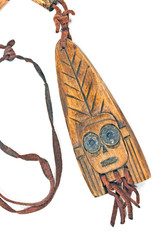 Wooden necklace with pendant of african woman on white