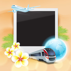 Blank photo with airplane, train, globe, flowers and palm leaves