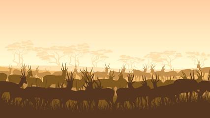 Vector illustration of wild animals in African savanna.