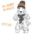 vector funny cartoon hipster dog English Cocker Spaniel sitting