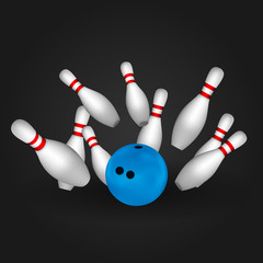 Bowl and bowling pins. Bowling concept.