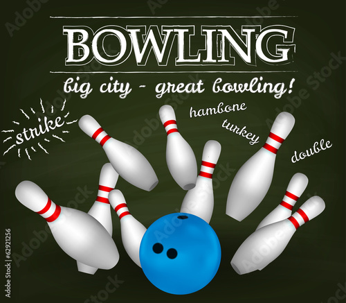 Bowl and bowling pins. Bowling poster.