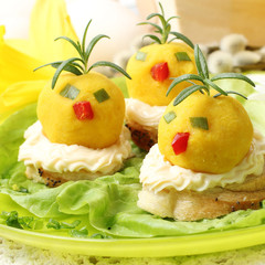easter breakfast. Chickens made from egg yolk with mayonnaise pu