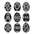 Set of Black Easter Eggs with Patterns