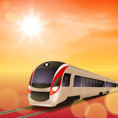 High-speed train. Sunset time. EPS10 vector.