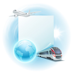 Concept travel illustration with airplane, train, globe and note