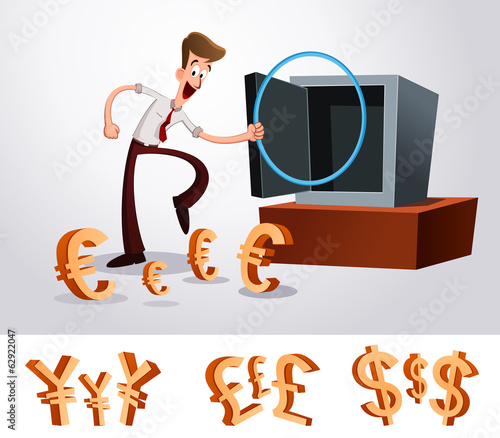 young worker luring money into deposit box