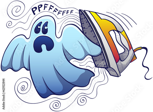 Scared ghost being chased by a terrific electric steam iron